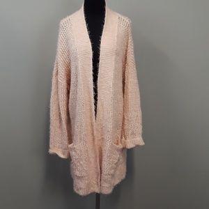 Caslon Pink Open Front Wool Cardigan Plus Size XXL